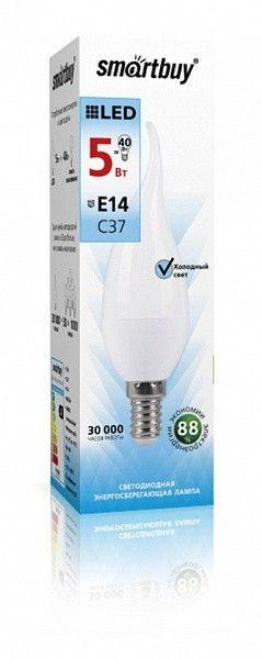 Светодиодная (LED) Свеча на ветру матовая Лампа Smartbuy-C37-E14 1