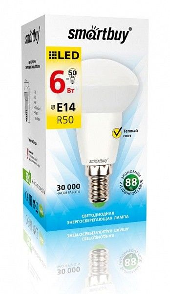 Светодиодная (LED) Лампа Smartbuy-R50-E14 6Вт теплый свет (3000К) 2