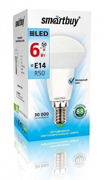 Светодиодная (LED) Лампа Smartbuy-R50-E14 6Вт холодный свет (6000К) 2