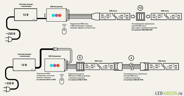 Схема подключения светодиодной ленты 1