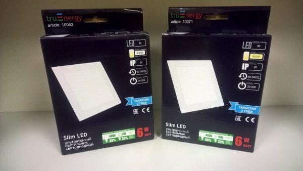 Ультратонкие LED панели квадратные truEnergy Встраиваемые Slim 4
