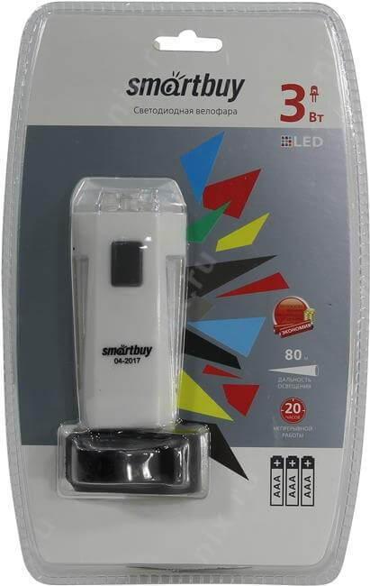 Светодиодная велофара белая 1 LED (3W ) 3*AAA Smartbuy 1