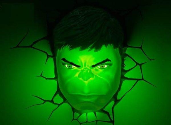 Светильник 3D Hulk Face