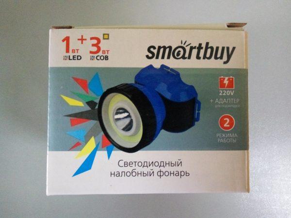 Светодиодный налобный фонарь 1 Вт LED +3 Вт COB Smartbuy, черно-синий 2