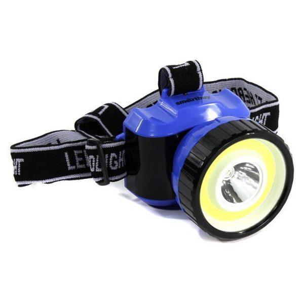 Светодиодный налобный фонарь 1 Вт LED +3 Вт COB Smartbuy, черно-синий 1