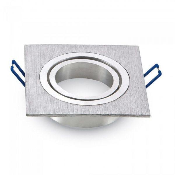 Декоративная рамка, 1 ячейка, квадрат, MR16 (GU10), алюминий, шлифованный алюминий 1