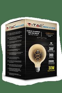 Филаментная лампа V-TAC 5 Вт G95 ЯНТАРНОЕ СТЕКЛО E27 1