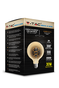 Филаментная лампа V-TAC 6Вт G125, Янтарное стекло, Е27, Диммируемая 1