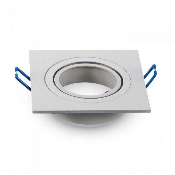 Декоративная рамка, 1 ячейка, квадрат, MR16 (GU10), алюминий, белый 1