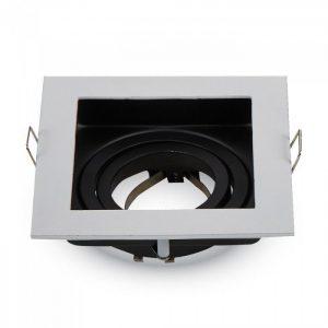 Декоративная рамка, поворотная, квадратная, MR16 (GU10), металл, белый