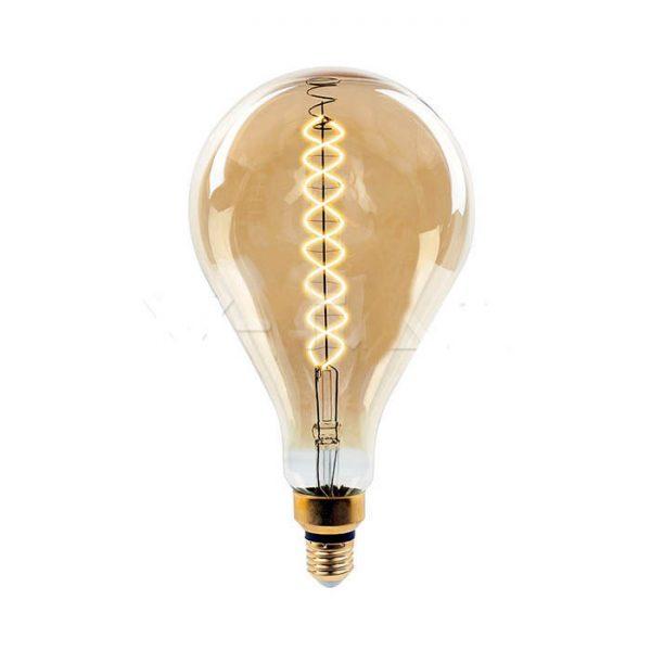 Филаментная лампа диммируемая V-TAC 8 ВТ 500lm А165 янтарное стекло E27 2000К 1