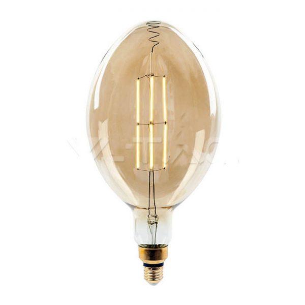 Филаментная лампа диммируемая V-TAC 8 ВТ, 600LM, BF180 янтарное стекло Е27 2000К