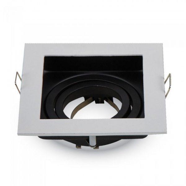 Декоративная рамка, поворотная, квадратная, MR16 (GU10), металл, белый 1