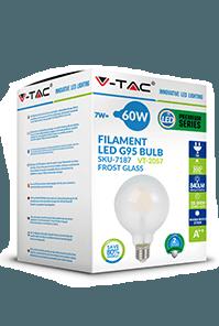 Филаментная лампа V-TAC 7 Вт G125 матовое стекло E27 1