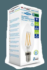 Филаментная лампа диммируемая V-TAC 4 Вт свеча стекло C37 E14 1