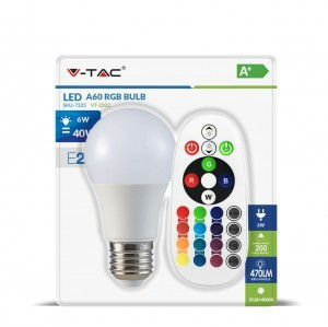 Светодиодная лампа RGB с пультом V-TAC A60 6Вт E27 1
