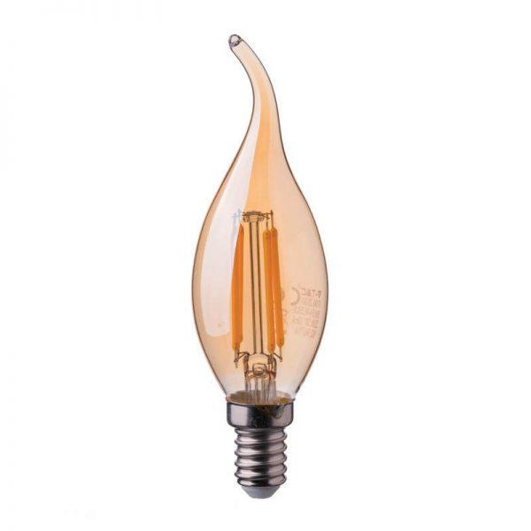 Светодиодная лампа V-TAC пламя свечи янтарное стекло Е14