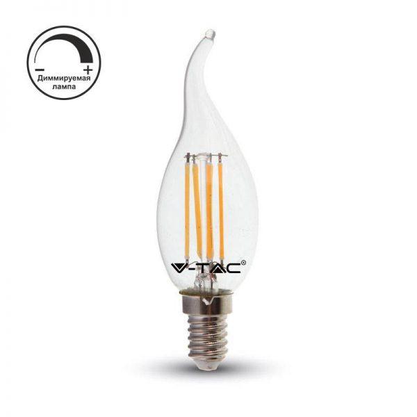 Филаментная лампа диммируемая V-TAC 4 Вт пламя свечи C37 E14 1