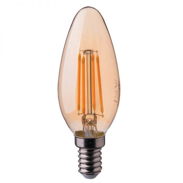 лампочка свеча янтарное стекло E14