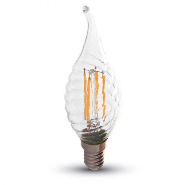 Филаментная лампа V-TAC 4 Вт закрученное пламя свечи C37 E14 1