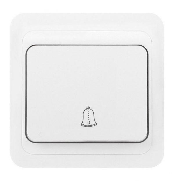 """Серия «Марс» (скрытая установка) Кнопка звонка 10А белая """"Марс"""" Smartbuy"""