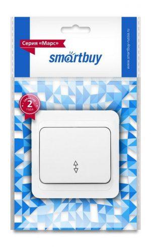 """Серия «Марс» (скрытая установка) Выключатель проходной 1-клавишный 10А белый, керамика """"Марс"""" Smartbuy"""