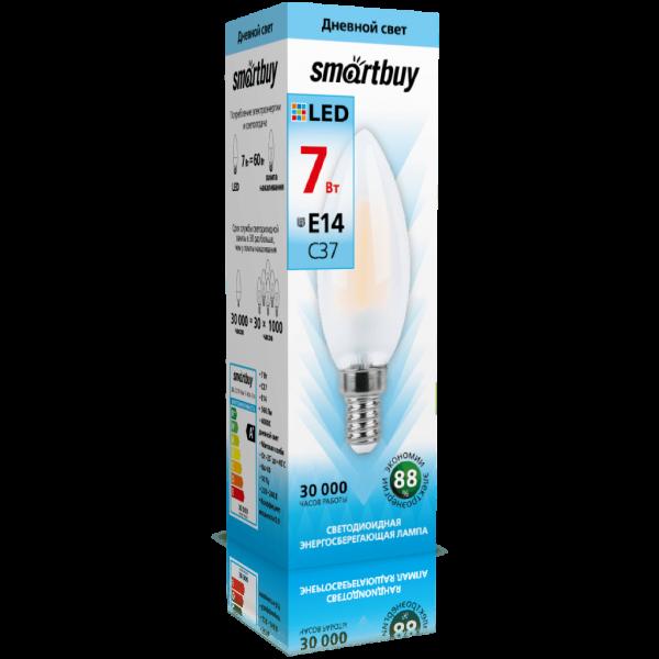 Светодиодная (LED)FIL Матовая Лампа Smartbuy-C37-07W/4000/E14