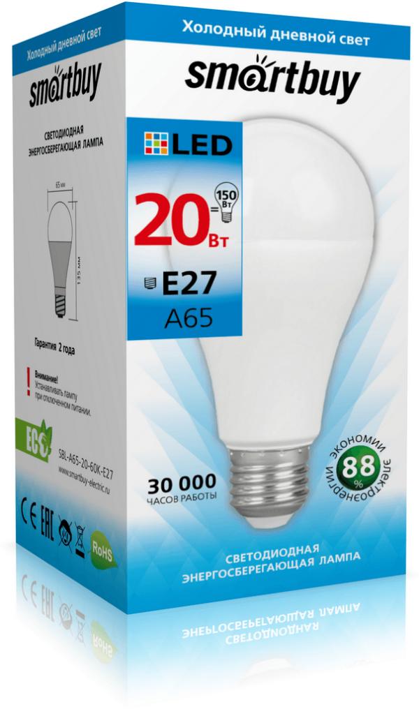 Светодиодная (LED) Лампа Smartbuy-A65 20W E27 1