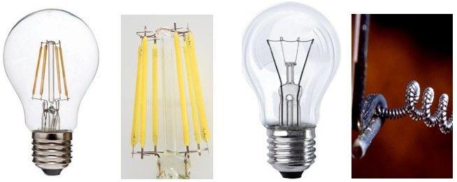 филаментная лампа и лампа накаливания