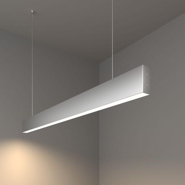 Линейный светодиодный подвесной односторонний светильник 103см 20Вт матовое серебро 5