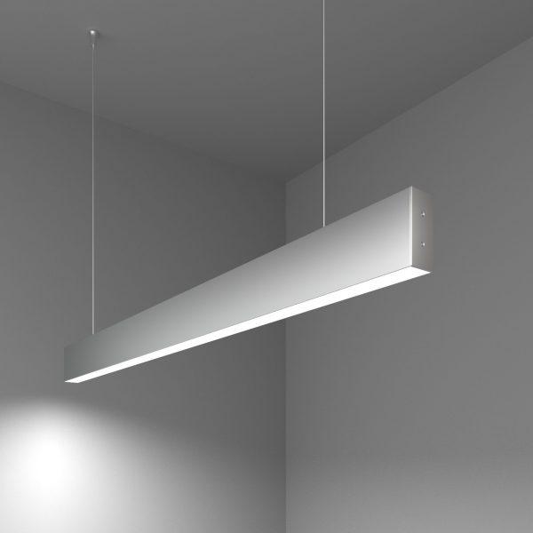 Линейный светодиодный подвесной односторонний светильник 103см 20Вт матовое серебро 4