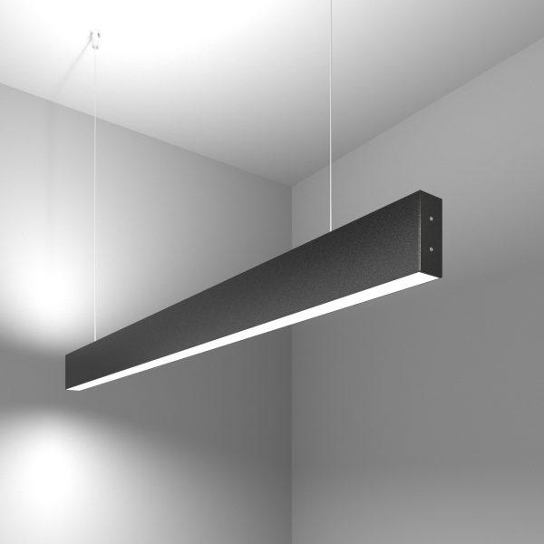 Линейный светодиодный подвесной двусторонний светильник 103 см 40 Вт черная шагрень 4