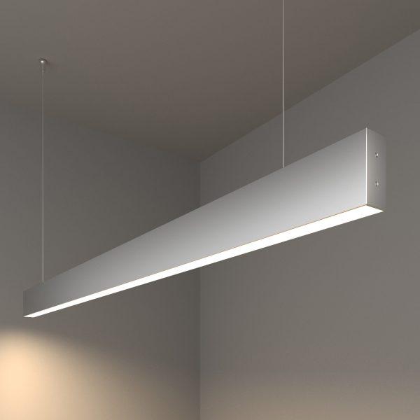 Линейный светодиодный подвесной односторонний светильник 128см 25Вт матовое серебро 10