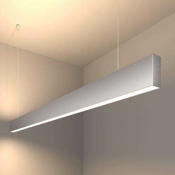 Линейный светодиодный подвесной двусторонний светильник 128см 50Вт матовое серебро 5