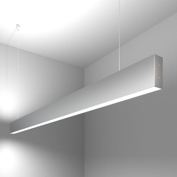 Линейный светодиодный подвесной двусторонний светильник 128см 50Вт матовое серебро 4