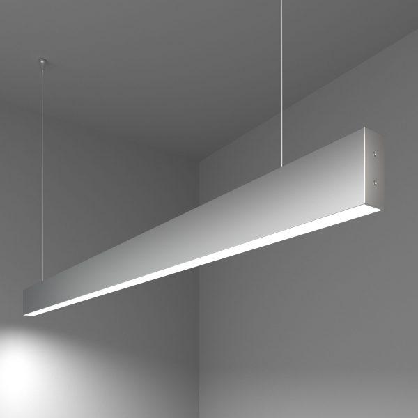 Линейный светодиодный подвесной односторонний светильник 128см 25Вт матовое серебро 9