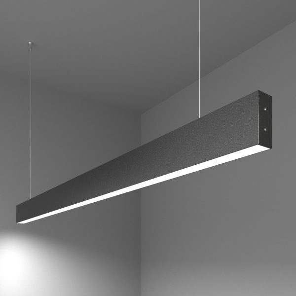 Линейный светодиодный подвесной односторонний светильник 128см 25Вт черная шагрень 6