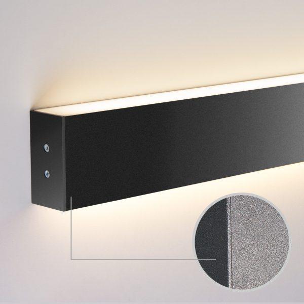 Линейный светодиодный накладной двусторонний светильник 128см 50Вт черная шагрень 2