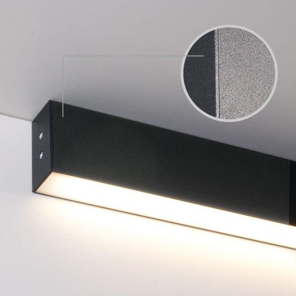 Линейный светодиодный накладной односторонний светильник 128см 25Вт черная шагрень 2