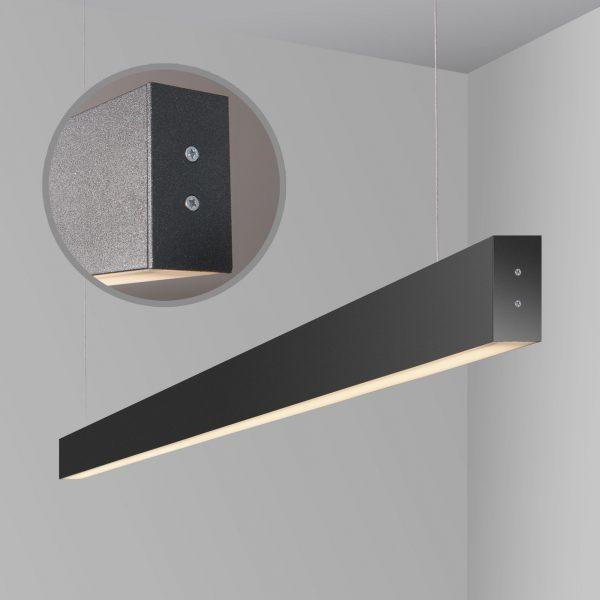 Линейный светодиодный подвесной двусторонний светильник 128см 50Вт черная шагрень 4