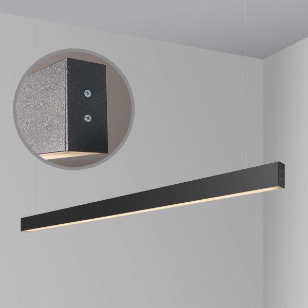 Линейный светодиодный подвесной односторонний светильник 128см 25Вт черная шагрень 3