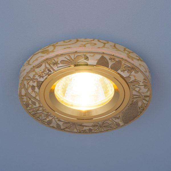 Встраиваемый точечный светильник с LED подсветкой 8096 MR16 GD золото 2