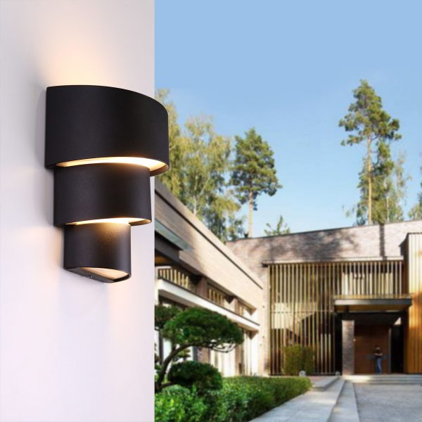 HELIX черный уличный настенный светодиодный светильник 1535 TECHNO LED 1