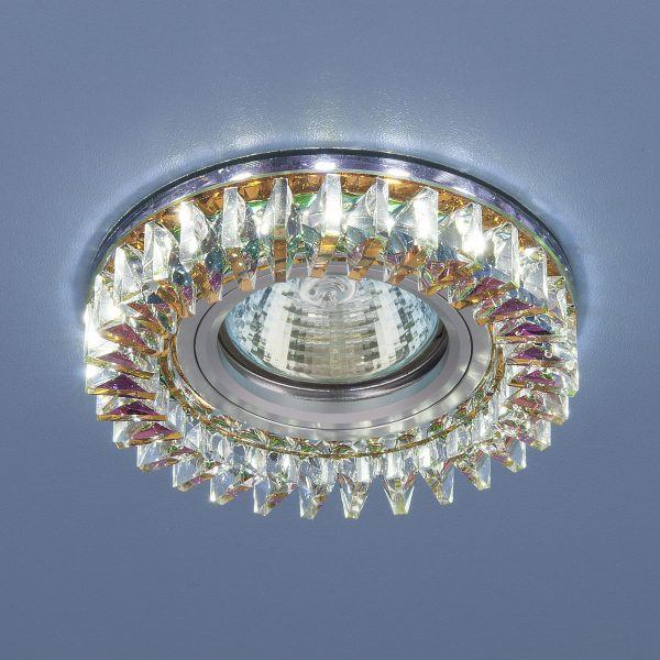 Встраиваемый точечный светильник с LED подсветкой 2216 MR16 MLT/CH мульти/хром 1