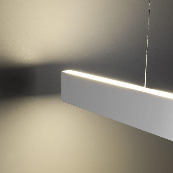Линейный светодиодный подвесной двусторонний светильник 128см 50Вт матовое серебро 2