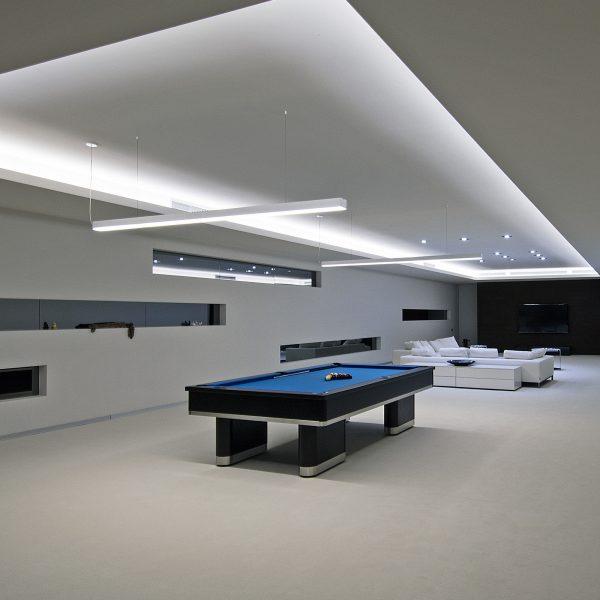 Линейный светодиодный подвесной односторонний светильник 103см 20Вт матовое серебро 3