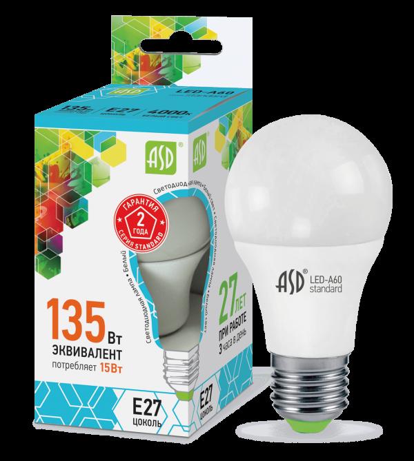 Лампа светодиодная LED-A60-standard 230В Е27 ASD 1