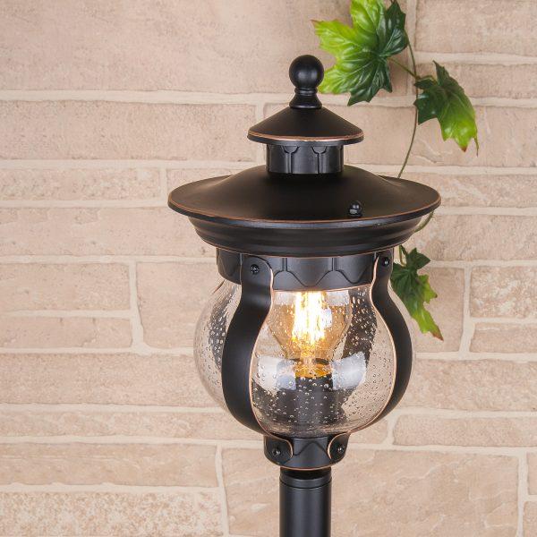 Barrel F черное золото уличный светильник на столбе GL 1025F 1