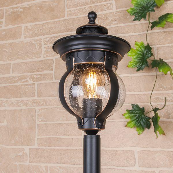 Barrel F черное золото уличный светильник на столбе GL 1025F 2