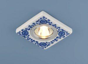 Керамический светильник 9034 керамика бело-голубой (WH/BL)